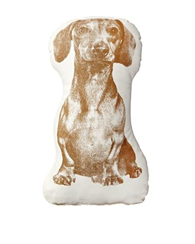 Areaware Mini Fauna Dachshund Pillow, White/Brown