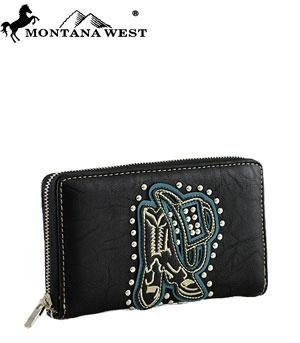 montana-west-hat-and-boots-zip-around-wallet-black-by-anythingeverythingshop