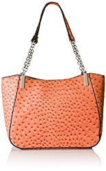 Emilie M. Nancy Ostrich Chain Handle Shoulder Bag, Peach, One Size