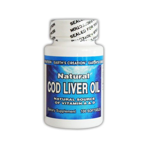 Earth'S Creation Natural Cod Liver Oil - Source Of Vitamin A & D - 100 Softgels