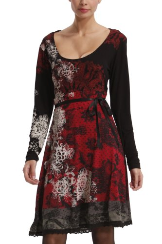 Desigual Women's Black & Red Lace Dress