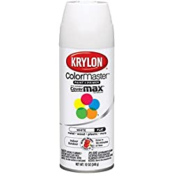 Krylon 51502 Flat White Interior and Exterior Decorator Paint - 12 oz. Aerosol