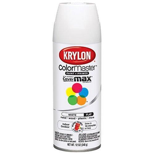 Krylon 51502 Flat White Interior and Exterior Decorator Paint - 12 oz. Aerosol