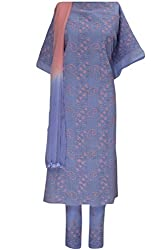 Lucknow Chikan Handcrafted Ethnic Women Unstitched Mauve Cotton Suit Material By Ada A14777