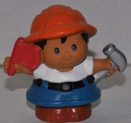 Little People Construction Worker (2007) - Replacement Figure Accessory - Classic Fisher Price Collectible Figures - Loose Out Of Package & Print (OOP) - Zoo Circus Ark Pet Castle