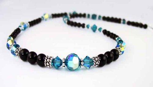 December Blue Zircon Beaded Swarovski Crystal Black Pearl Birthstone Necklace in Sterling Silver
