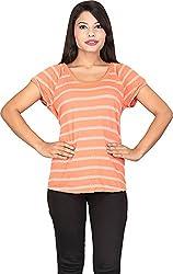 TUC Women's Plain Top (TUC_01_OrangeT_S, Orange, Small )