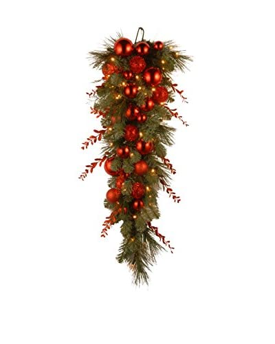 National Tree Company 36 Decorative Collection Christmas Red Mixed Teardrop
