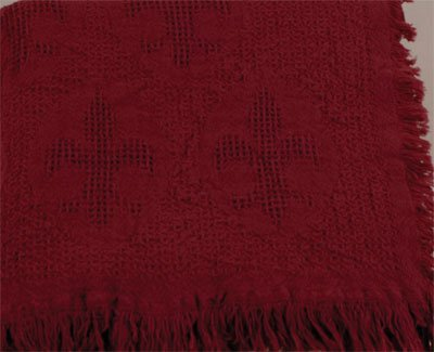 Cranberry Red Fleur de Lis Afghan Throw Blanket 48