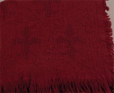 Cranberry Red Fleur de Lis Afghan Throw Blanket 48