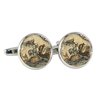 Vintage Sea Monsters Design Cufflinks in Gift Box