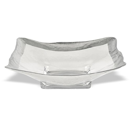 Badash Crystal Square Glass 16 inch Bowl With Authentic Silver Leaf Border
