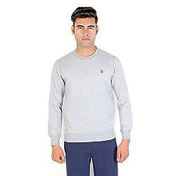 Bongio Men's Fleece Full Sleeve Sweatshirt _RMW5A13009A (Medium, Lt.Grey)