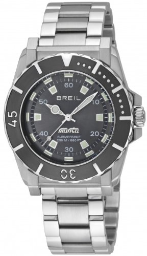 Breil Gents Watch Analogue Quartz TW0734 Silver Stainless Steel Strap Black Dial