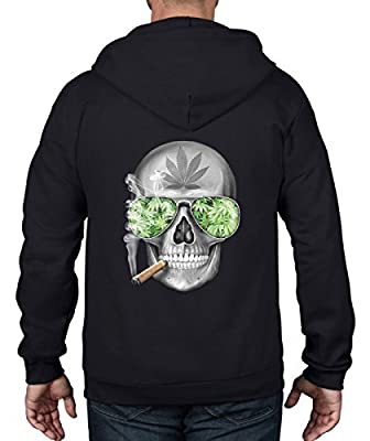 Tribal T-Shirts Skull Smoking Cannabis Unisex Full Zip Up Hoodie