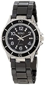 XOXO Women's XO2000 Swarovski Crystal Accented Silver-Tone Black Ceramic Bracelet Watch