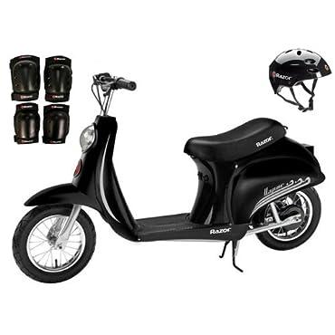 Razor Pocket Mod Vapor Electric Scooter (Black) w/ Helmet, Elbow and Knee Pads