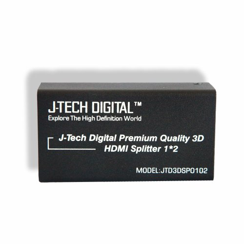 J-Tech Digital (TM) 2 Ports HDMI 1x2 Powered Splitter Ver 1.3 Certified for Full HD 1080P with Deep Color & HD Audio and Max Bandwidth of 10.2Gbps