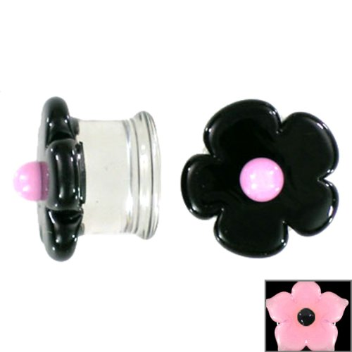 Pink Sparkle Cherry Blossom with Black Center Handmade Glass Plugs - Double Flare - 1/2