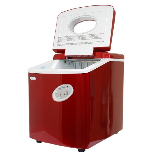 NewAir AI-100R Portable Icemaker In Red With 28 Pound Ice Cube Capacity