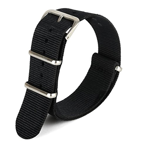 Green Olive 18mm Nato Style Waterproof Ballistic Nylon Watch Strap Watch Bands Bracelet (Black) (18mm Omega Strap compare prices)