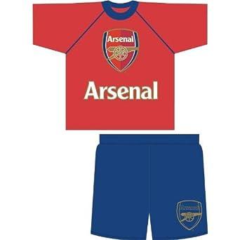 Childrens/Kids Boys Red Arsenal Football Club Logo Nightwear, Short Sleeve Top and Shorts Pyjama Set (11-12 Years) (Red/Navy)