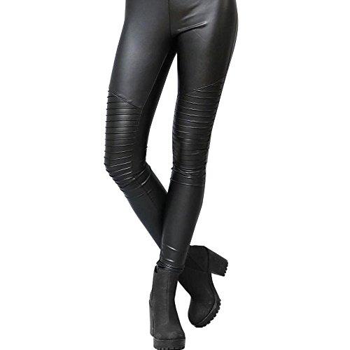 SXG Women's Straight Fit Stretchy Stripe Faux Leather Wet Look Fashion Shiny Liquid Stretch Black Leggings Pencil Ladies'Pants M (Plus Wet Look Pants compare prices)