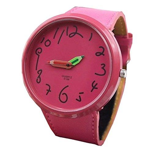 レディース 鉛筆ポインタ 腕時計 クウォーツ PUレザーバンド 選べる10色 おしゃれ (ローズレッド)
