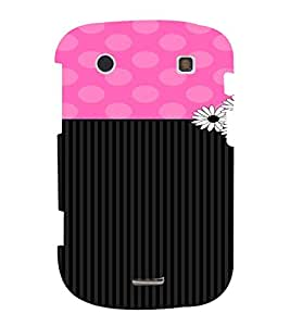 PrintVisa Cute Flower Dots & Stripes Pattern 3D Hard Polycarbonate Designer Back Case Cover for Blackberry 9900