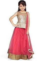 Beautifull Small Girl's Pink Lehenga Choli With Dupatta Presenting by Sixsense Retailers