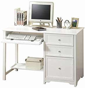 Oxford Computer Desk With Shelf 46 W White Office Products