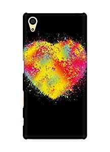 Amez designer printed 3d premium high quality back case cover for Sony Xperia Z5 (Abstract colors heart)