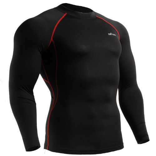 emFraa Men Women Skin Tight Baselayer T Shirt Running Top Black Long sleeve S ~ XL