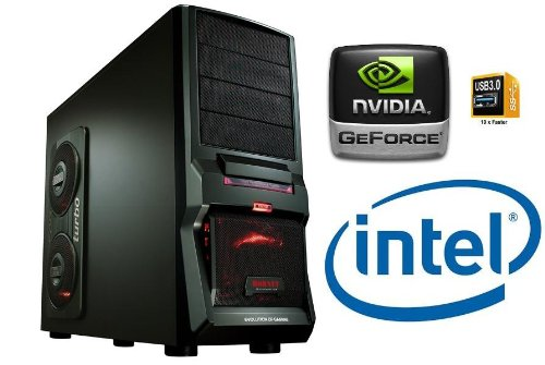 GAMING PC INTEL i7 2600 Quad Core 4x3,4GHz - 1000GB HDD - 8GB DDR3 (1333 MHz) - DVD Writer - Grafik GeForce GTX650 (1024MB DDR5-VGA-DVI-HDMI-DirectX 11) - Audio - 6xUSB 2.0 - 2xUSB 3.0 - LAN - 650W - Cardreader - Wireless LAN (USB/150MBit) - 1xeSATA - 3xLED fan - Windows7 Home Premium 64Bit (DVD a.Lizenzkey) - COMPUTER