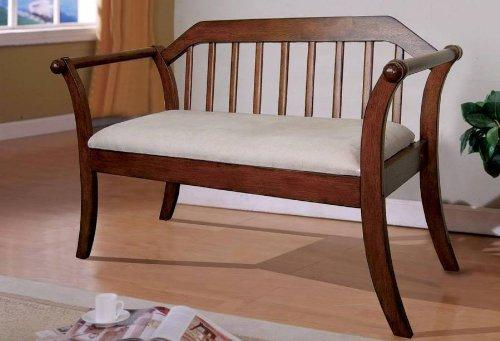 Barnwood Finish Fence-Style Padded Wood Bench front-1070432
