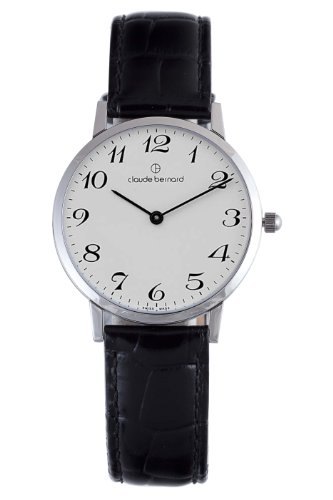Claude Bernard Men's 20061 3 BB Classic Gents - Slim Line White Dial Black Leather Watch