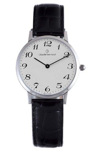 Claude Bernard Men's 20061 3 BB Classic Gents - Slim Line White Dial Black Leather Watch