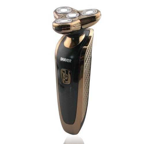 Mangood® Deluxe Rotary 4D Rechargeable Washable Men'S Electric Shaver Razor Gold Lk-360