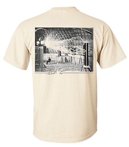 Tesla Coil Back Print T-Shirt/Tee By Dsc - Natural 3X-Large front-432642