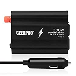 GEEKPRO 300W Power Inverter Dual 110V AC Outlets Car Power Inverter DC 12V to 110V Car Vehicle Adapter Dual USB Charging Ports for Iphone,Laptop,Smartphones