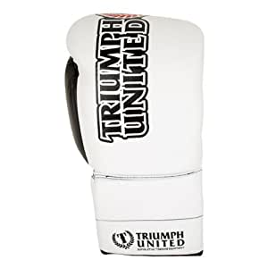 Triumph United Storm Trooper Lace Up Pro Boxing Gloves, White, 10-Ounce