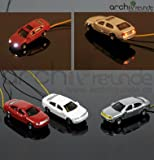 3 x Modell Autos LED beleuchtet Modellbau 1:200 Modelleisenbahn Spur Z