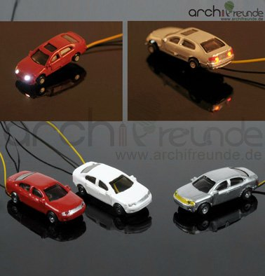 3-x-Modell-Autos-beleuchtet-mit-LED-fr-Modellbau-1200-Modelleisenbahn-Spur-Z-kein-Widerstand-dabei