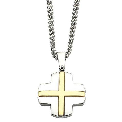Men's Two-Tone Stainless Steel Cross Pendant