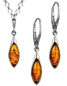 Amber by Graciana - 40960 - Parure Collier Chaîne Rolo et Boucles d'Oreille Femme Marquise - Argent 925/1000 - Ambre - 46cm