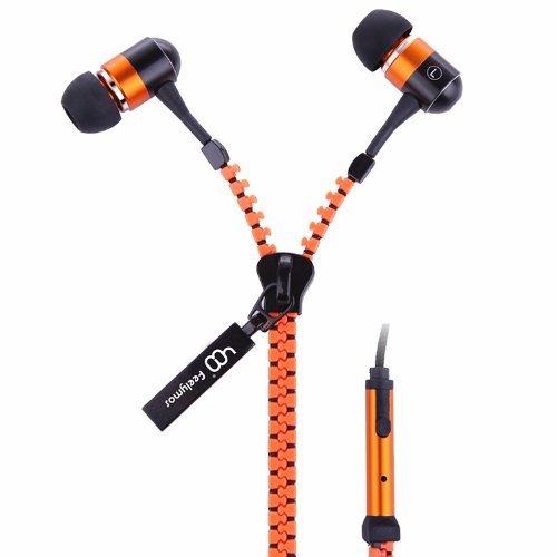 Feelymos Zipper Earphones And Microphone Handsfree Strong No Tangle (Orange)