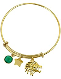 Exxotic Zodiac Star Sign Gold Plated Birthstone Bangle Bracelet For Girls Women