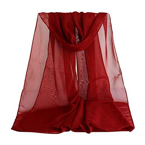 Donne Sciarpa Scialle , Ouneed® Scialle con Chiffon per Autunno Inverno,Womens Lady Girls Da donna Signora Ragazze Scialle Shawl Scialle,50CM*160CM (Rosso)