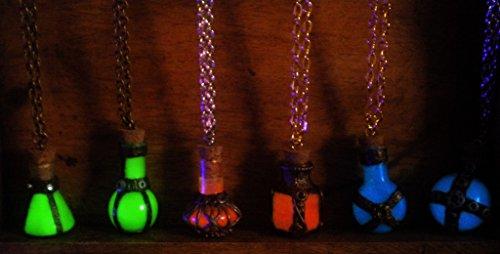 Mini Alchemy Potions - Health Mana Stamina Potions - Glow in the Dark Potion Necklace - Gamer Geek Jewelry