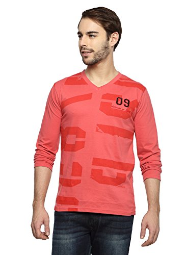 Teen Tees Men's Cotton Graphic Print C.Red Colour Full Sleeves V Neck Tshirt